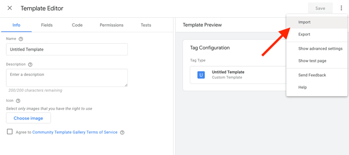 Import GTM Tag Template