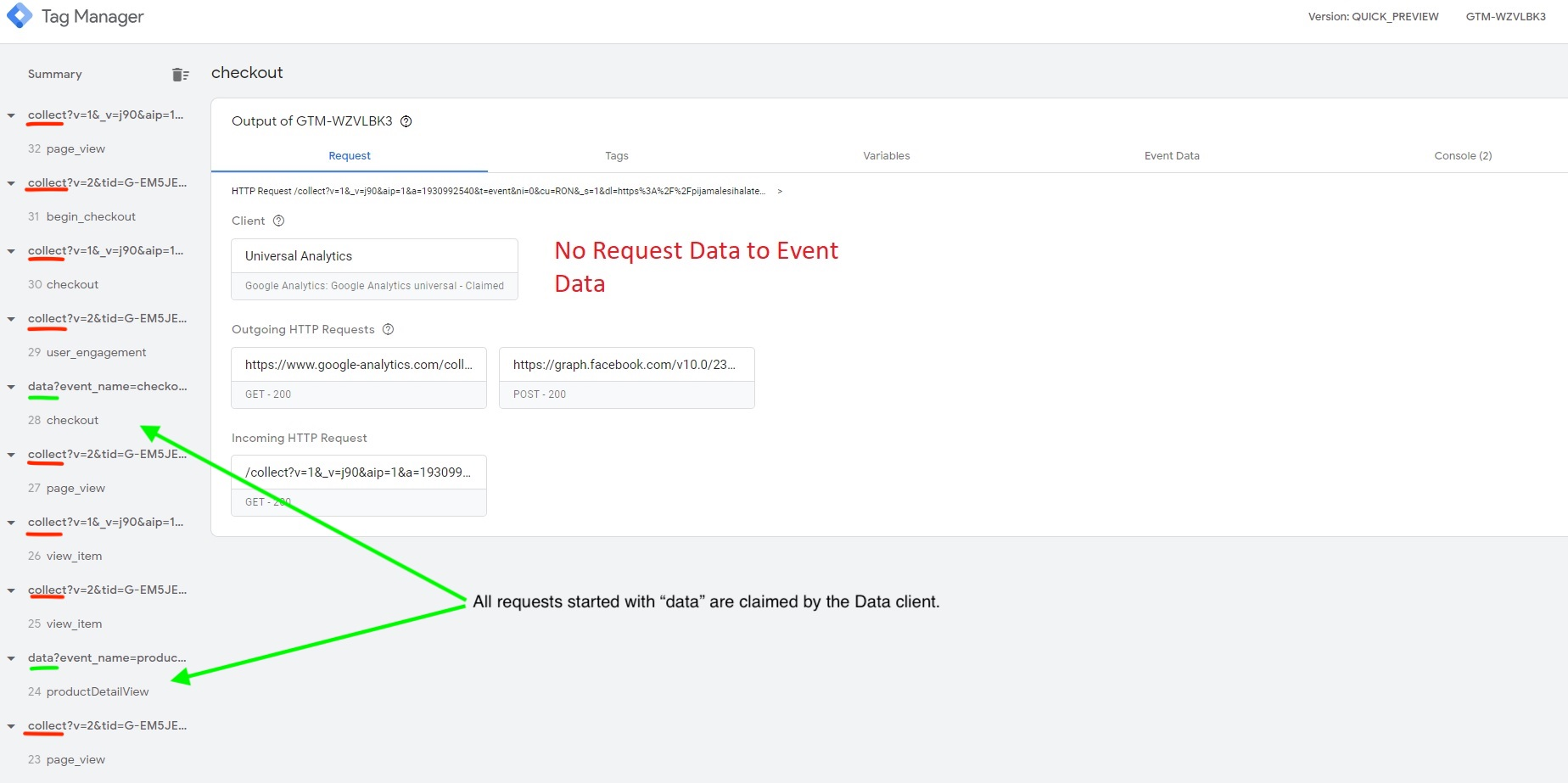 No Request Data to Event Data Client working